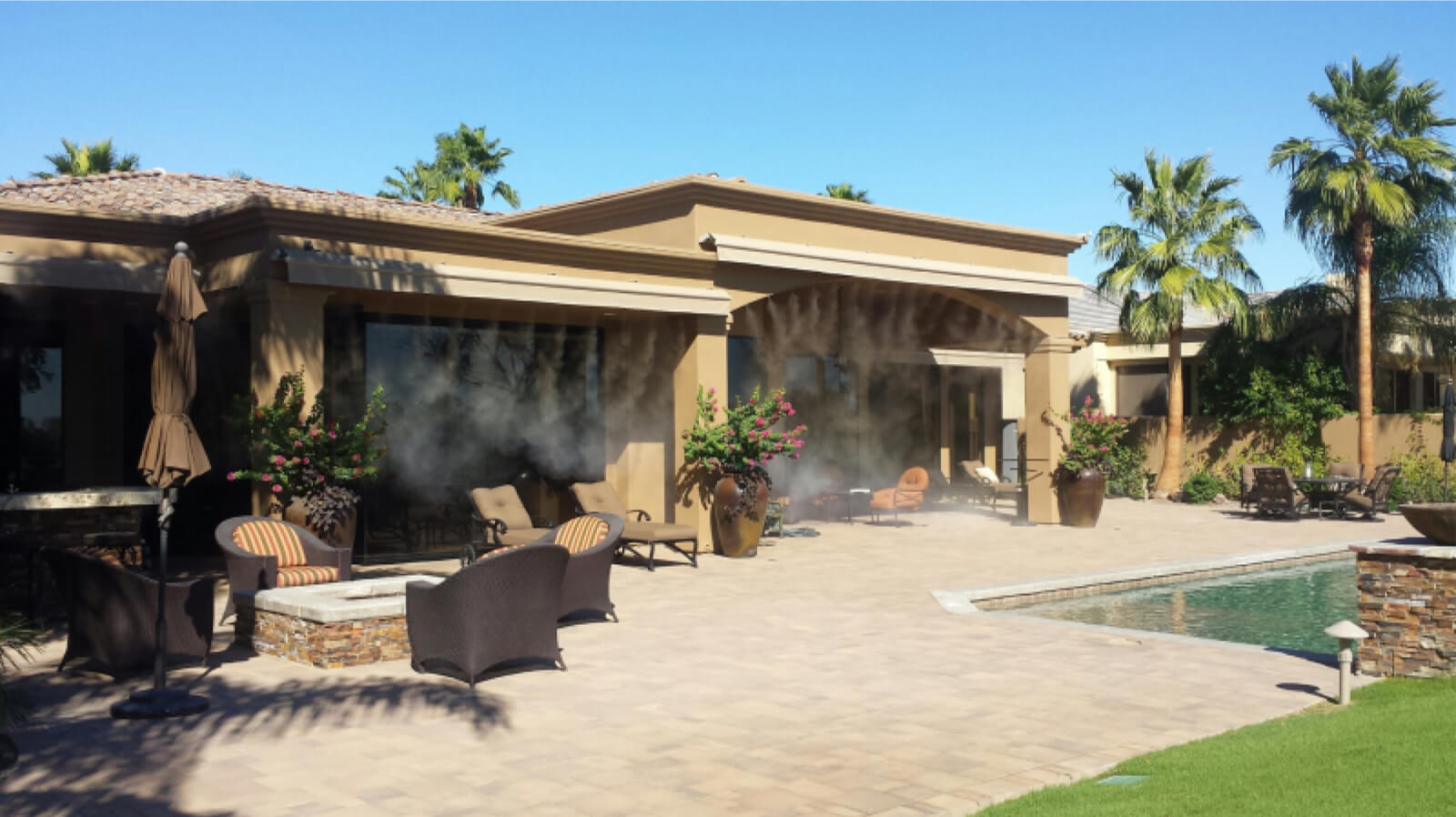 systems for waterfall desert palm effects and springs cooling effect special misters misting patio