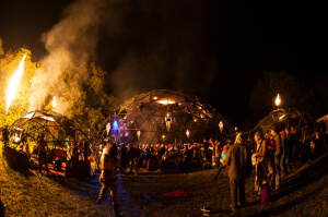 Three geodesic domes, connected in an array of fire, fog and light, stage the Incendia experience; one that is inspired by middle eastern architecture, math and the natural elements.
